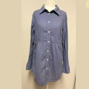 Boden Button Tunic Blouse Cotton Collared Pockets